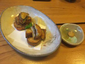きくらげ料理(茄子はさみ揚げ)