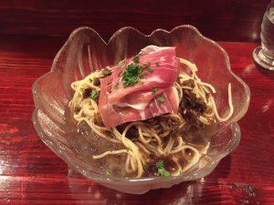 きくらげ料理(冷製スープパスタ)